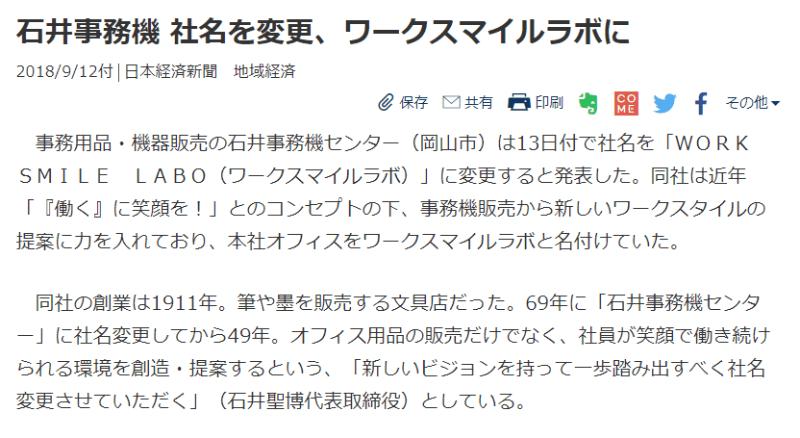 『日本経済新聞』にて「社名変更」が掲載されました