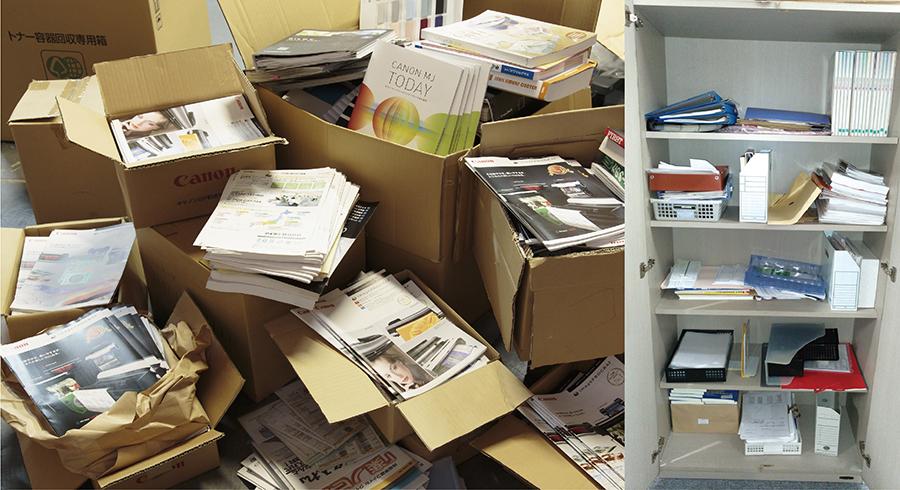 書庫を分類分けする前は、ごちゃごちゃして探すのに時間がかかり効率が下がる。
