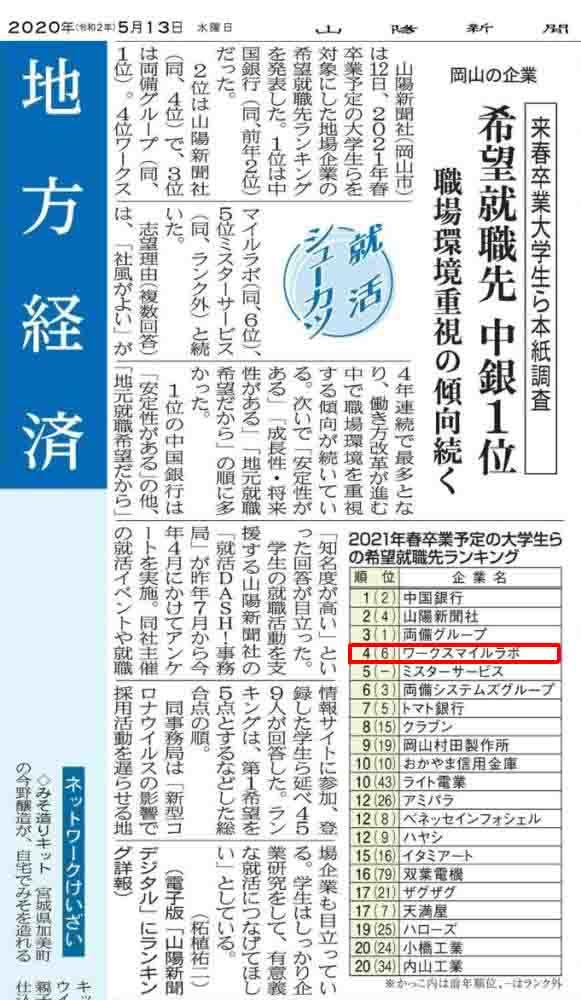 山陽新聞:岡山の企業 希望就職先1位は中銀